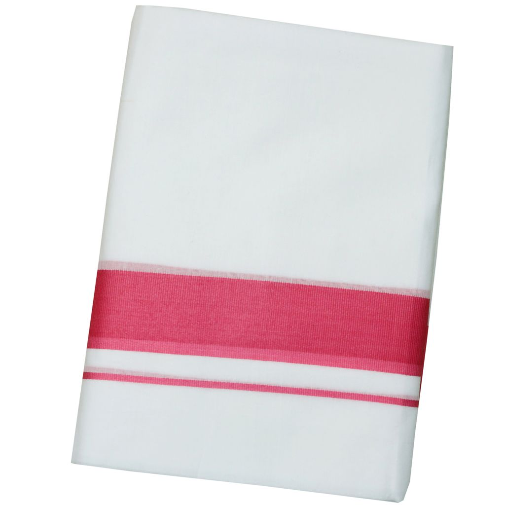 Men's Pink Border Double Dhoti With Extra Length