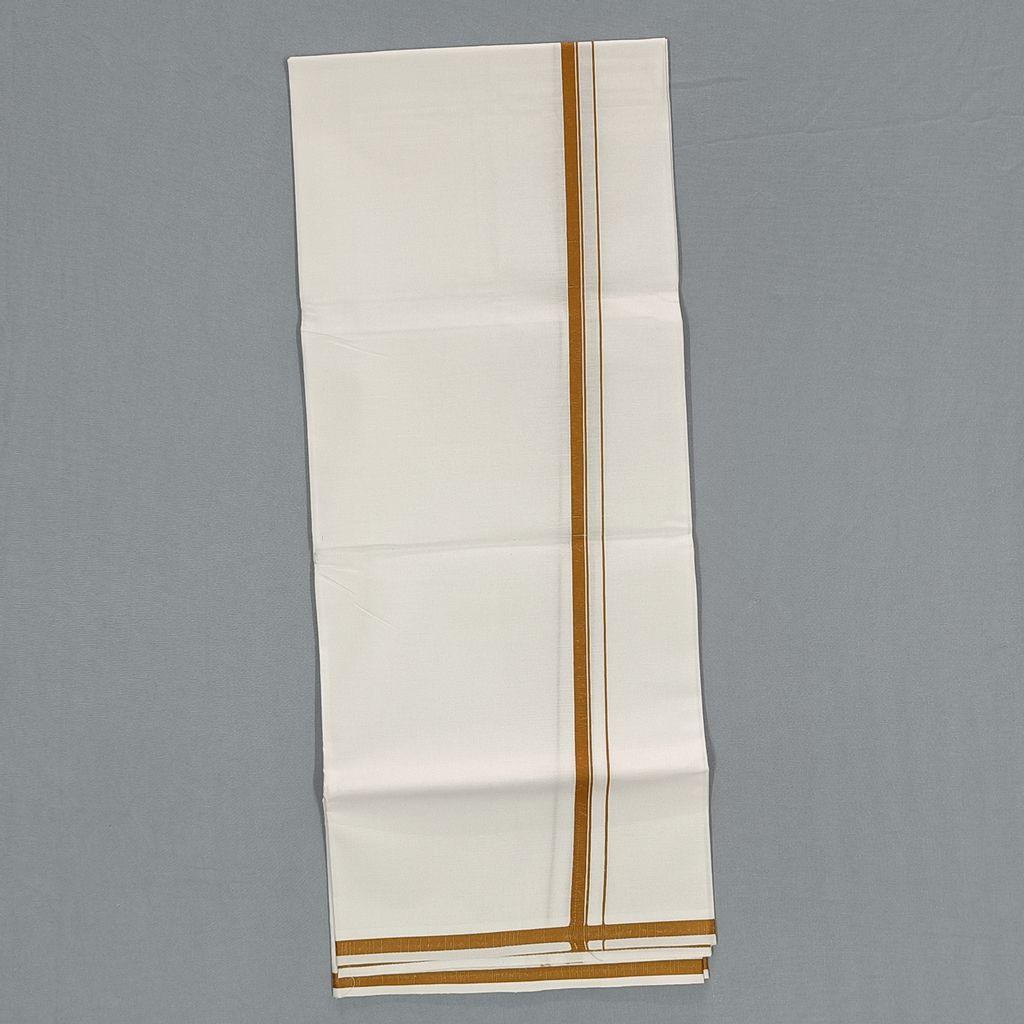 Men's White Single Dhoti With Golden Yellow Kara