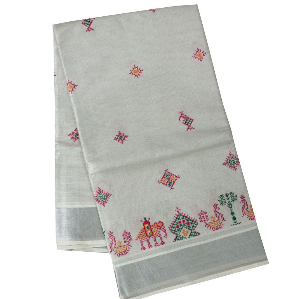 Silver Kasvu Saree With Kasuti Thread Work
