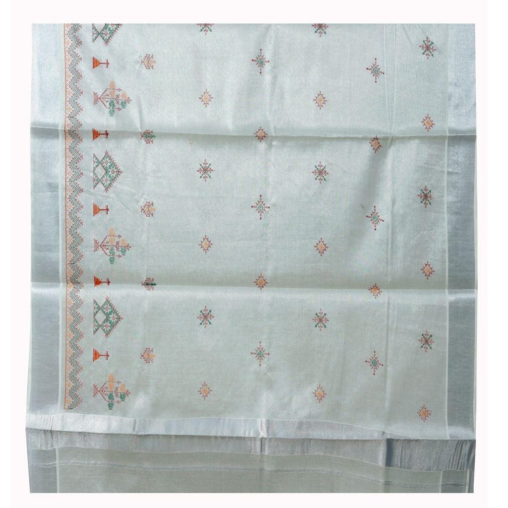 Kerala Tissue Saree With Kasuti Embroidery