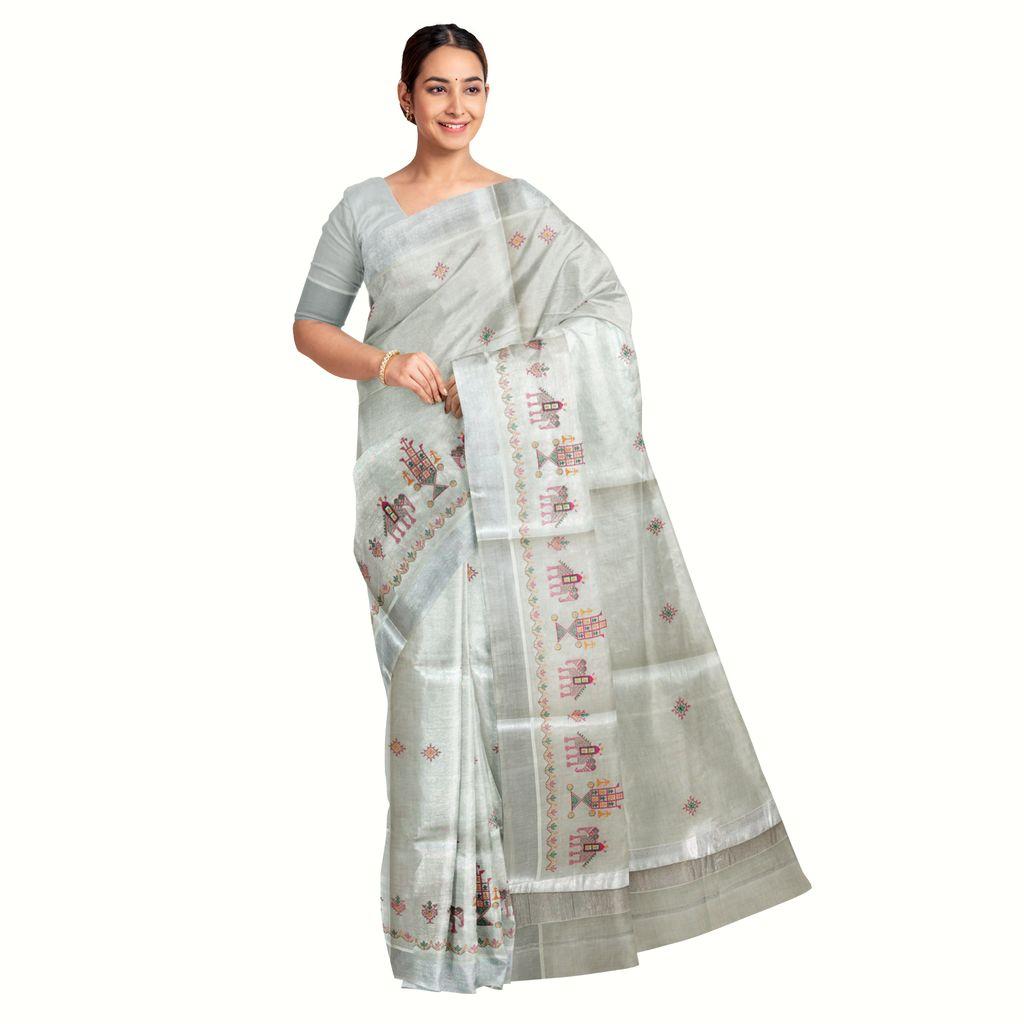 Kasuti Embroidered Silver Kasavu Saree