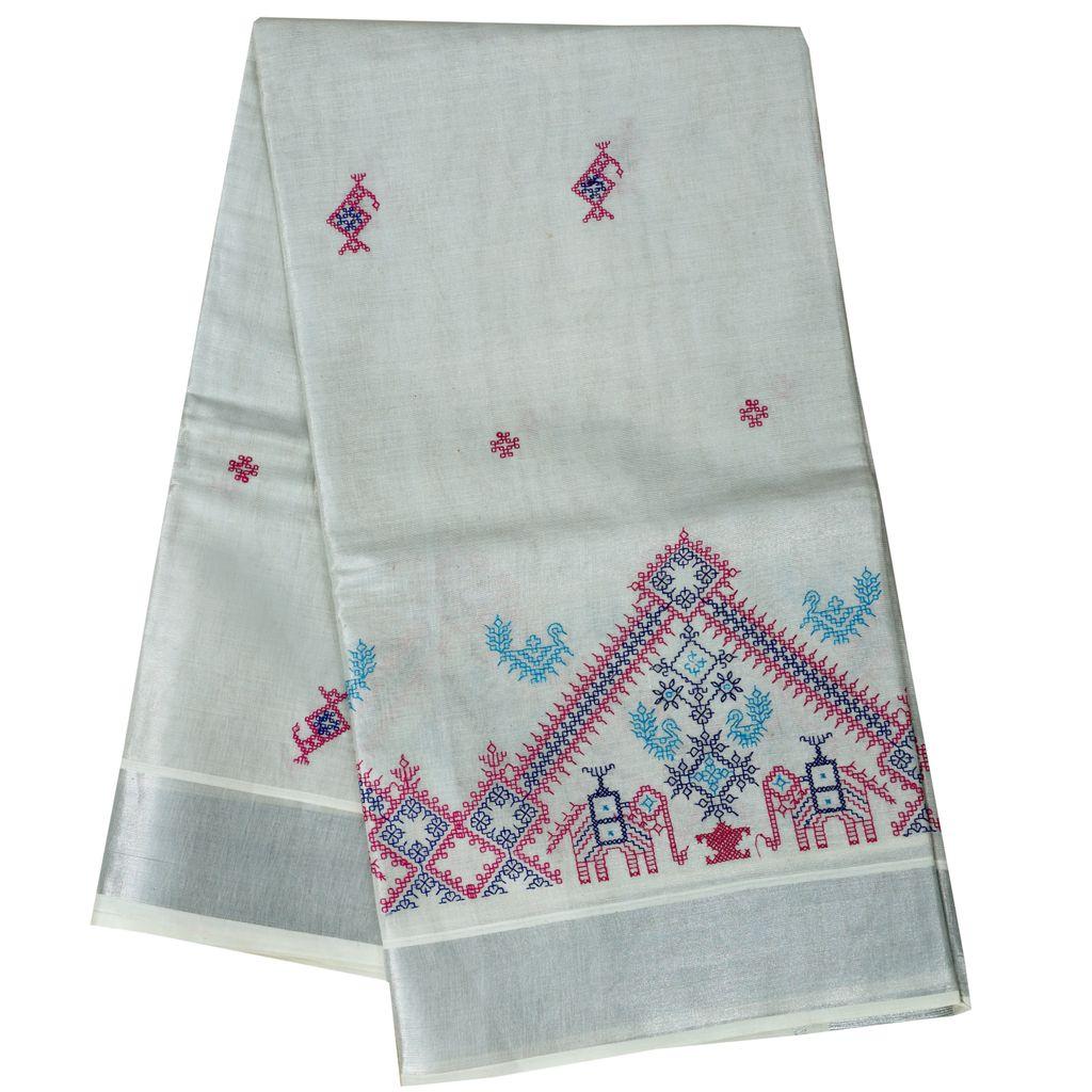Silver Tissue Saree With Kasuti Embroidery Design