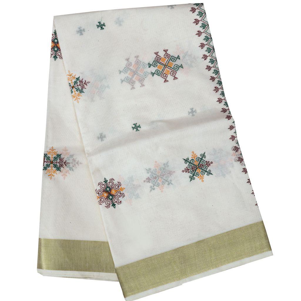 Cotton Kerala Saree With Kasuti Embroidery