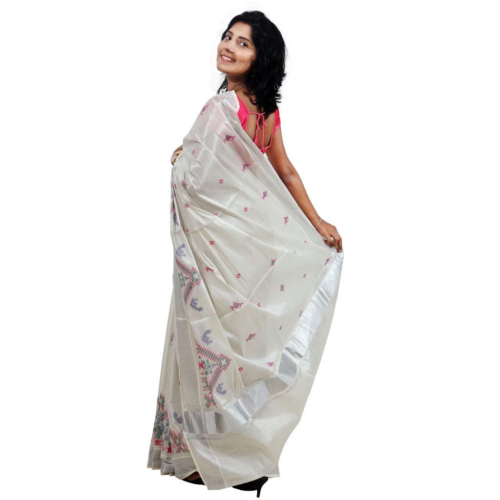 Silver Tissue Saree With Kasuti Design