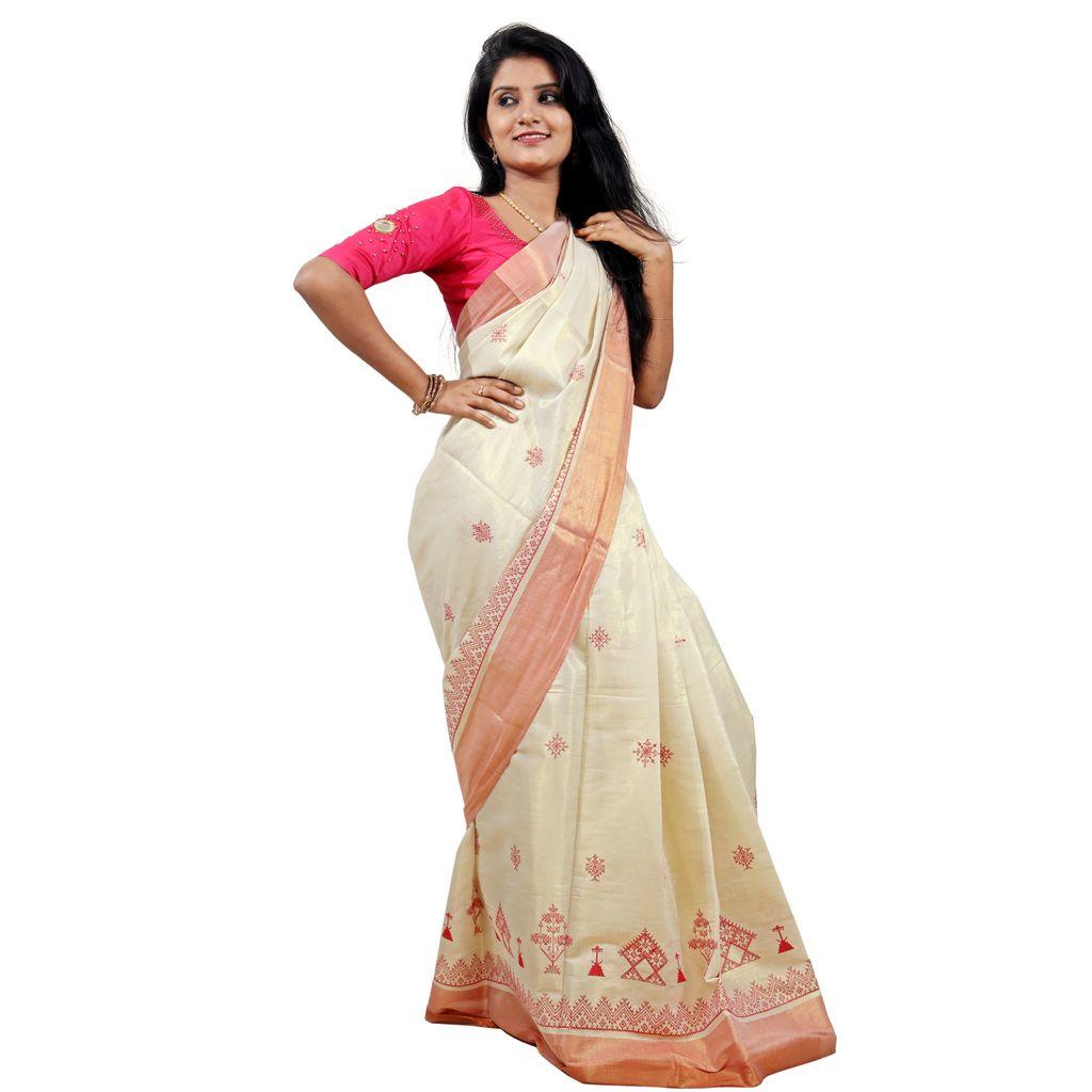 Kasuti Embroidery Tissue Cotton Kerala Saree