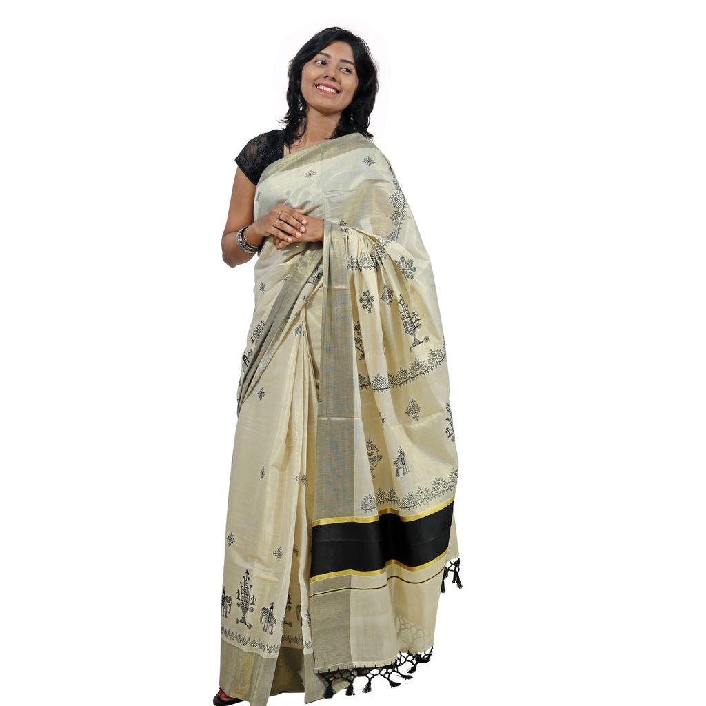 Kasuti Embroidery tissue cotton Saree