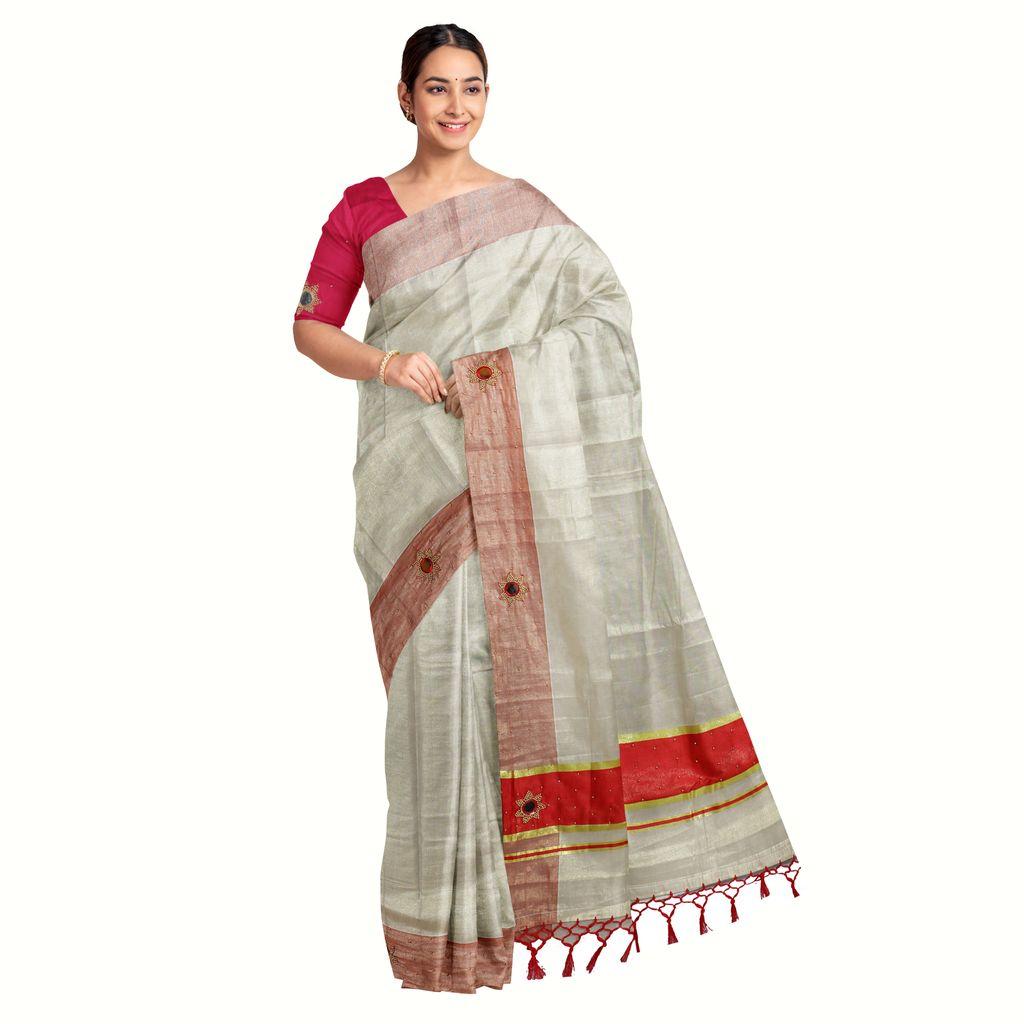 Kerala Tissue Saree With Shisha Embroidery