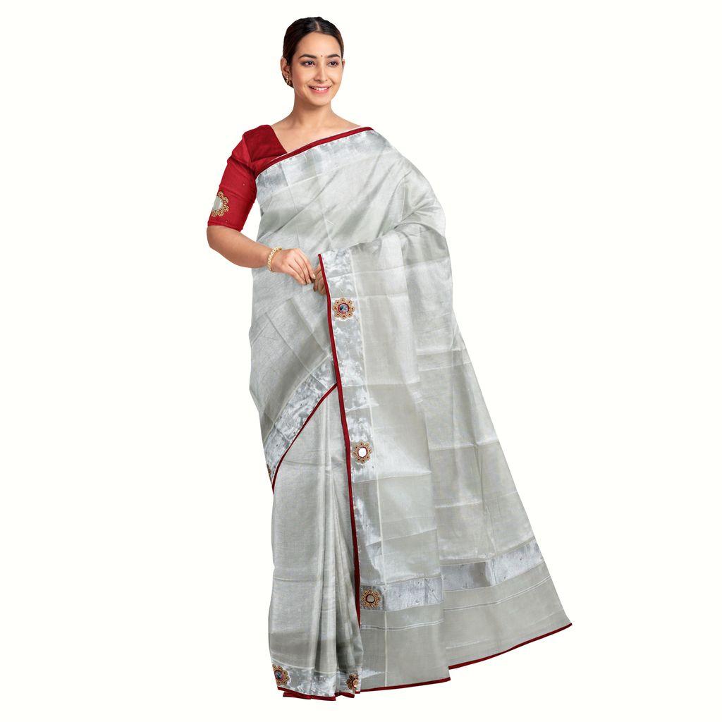 Kerala Tissue Kasavu Saree With Shisha Embroidery