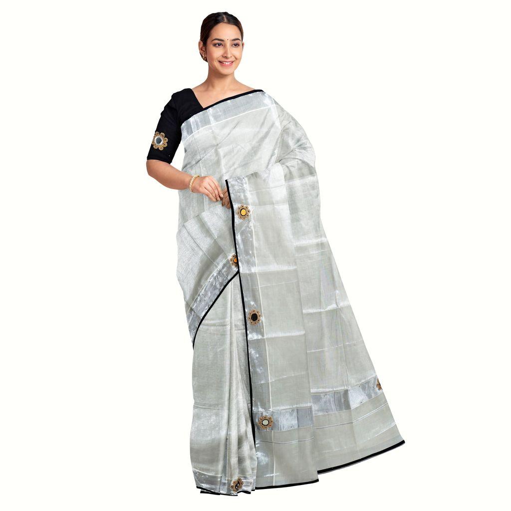 Tissue Kasavu Saree With Shisha Embroidery