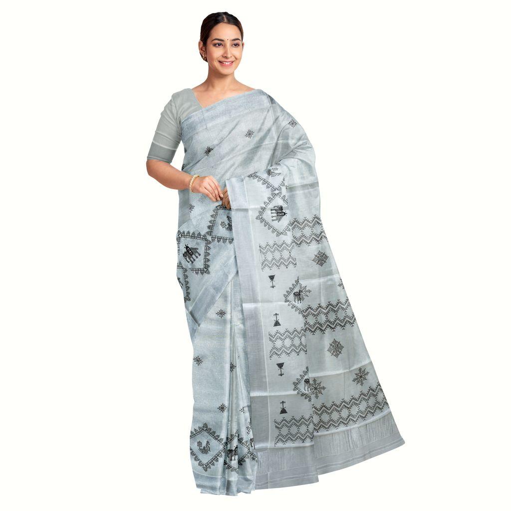 Kasuti Thread Worked Silver Tissue Saree