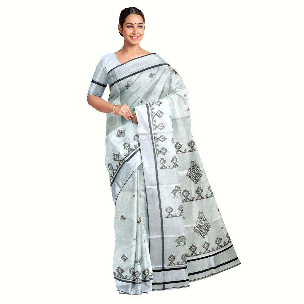Kerala Kasavu Saree With Kasuti Thread Pattern