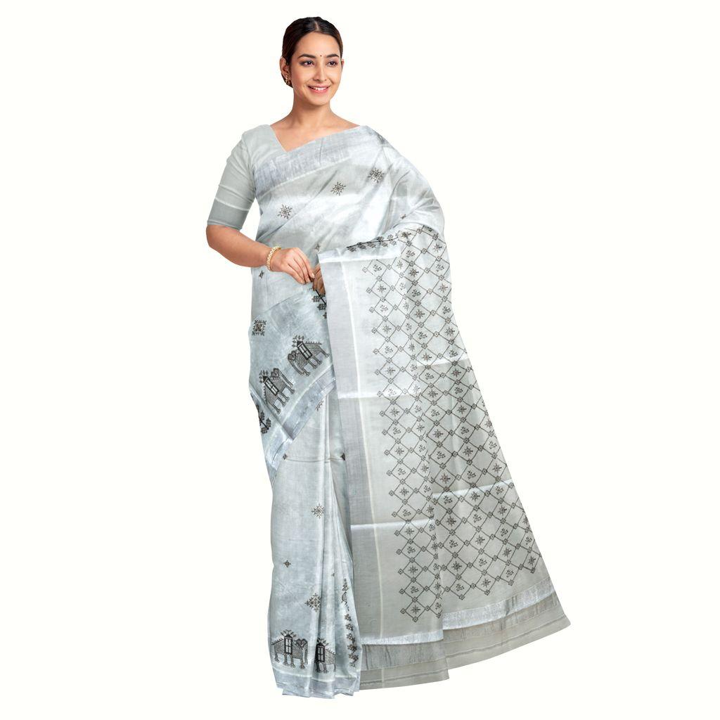 Silver Kasavu Saree With Kasuti Thread Embroidery