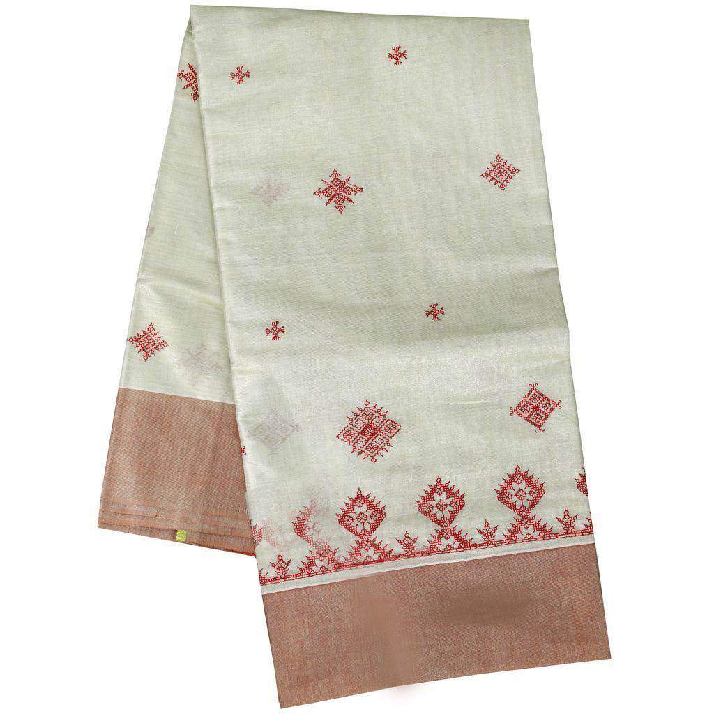 Kasuti Embroidered Plain Tissue Saree