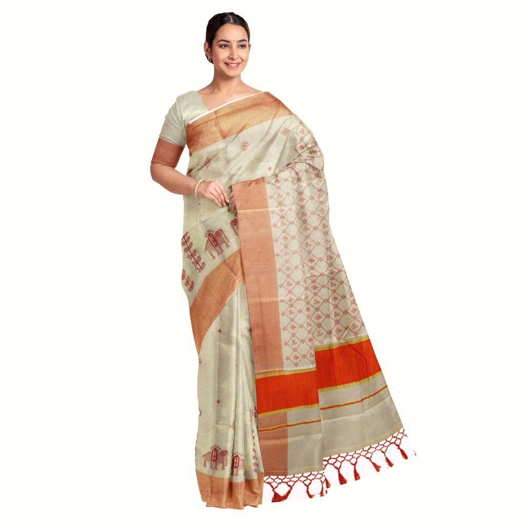 Kerala Tissue Saree With Kasuti Thread Work