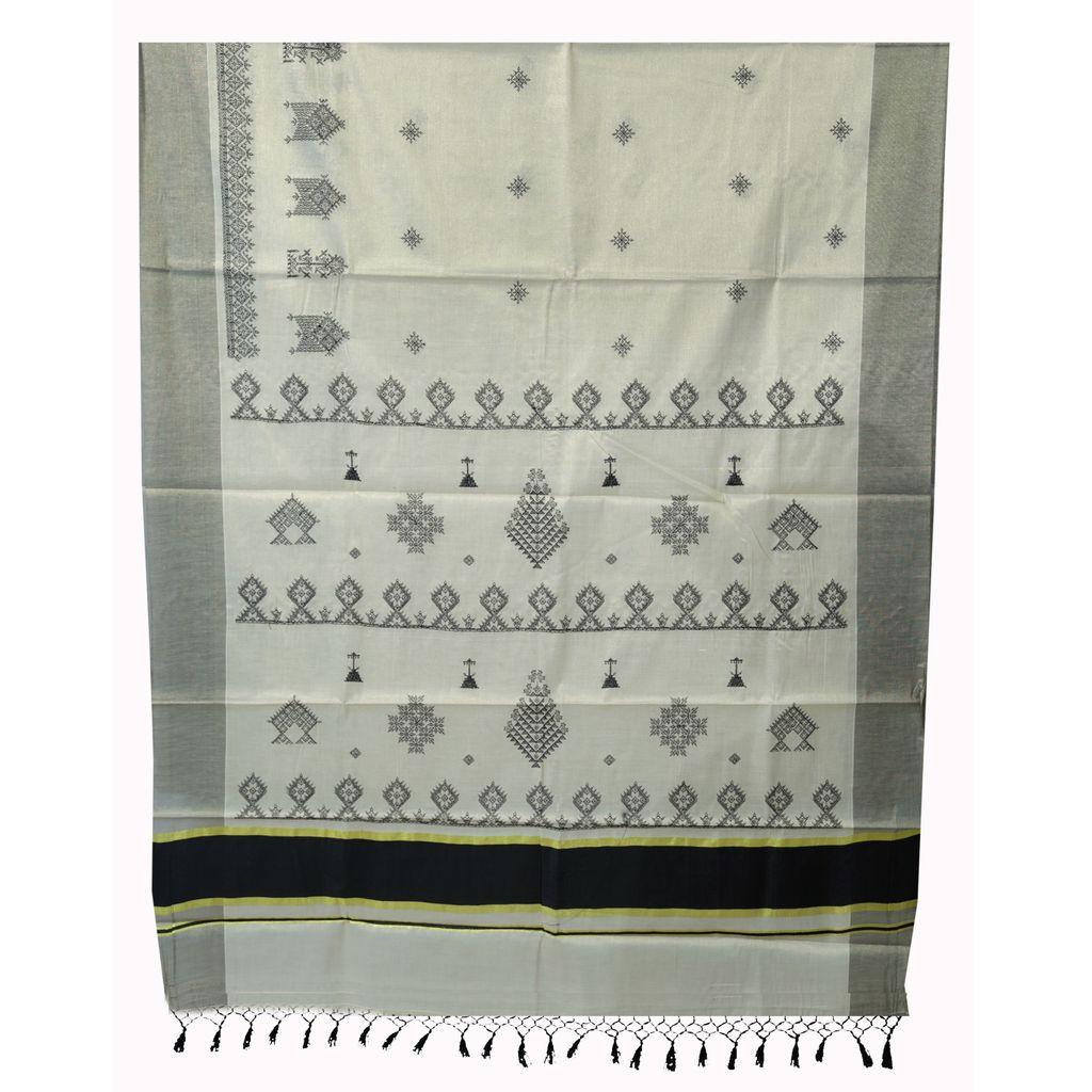 Black Border Tissue Saree With Kasuti Threadwork