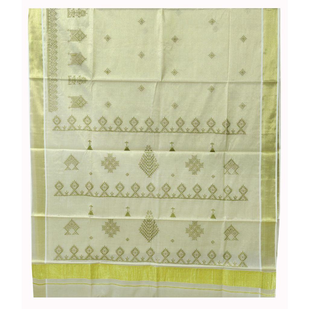 Kerala Tissue Saree With Kasuti Thread Embroidery