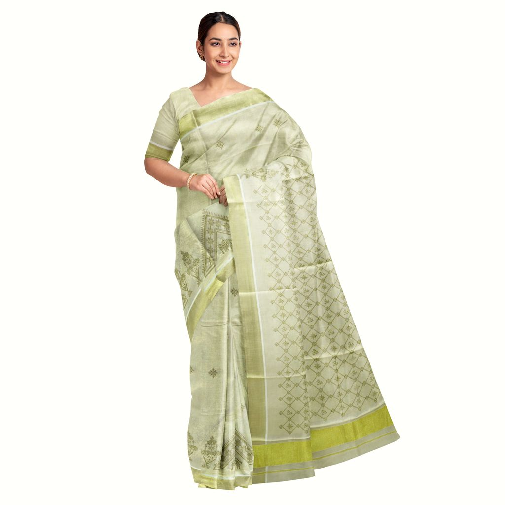 Kerala Kasavu Saree With Kasuti Thread Work