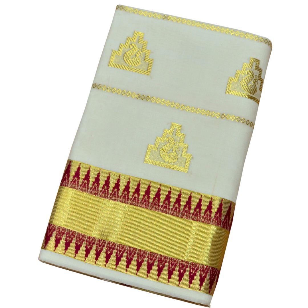 Kuthampully Handloom Kasavu Saree With Temple Work