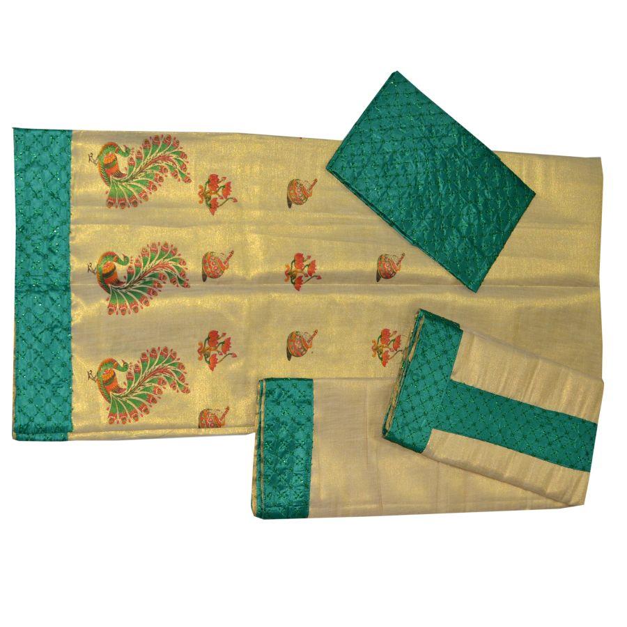 Women Tissue Print Dhavani  Kerala Style With Green