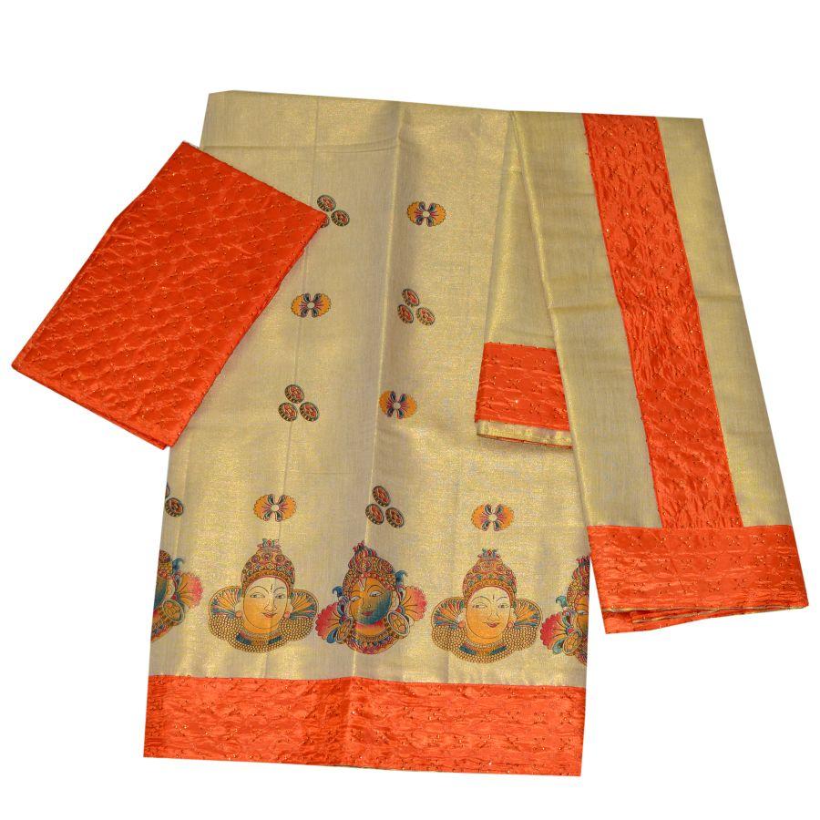 Mural Print Tissue Dhavani With Orange Border