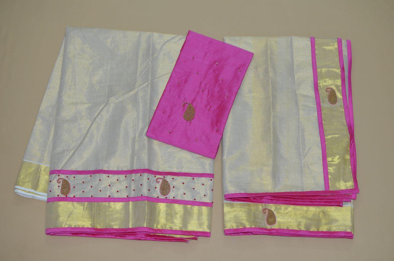 Pink Colour Tissue Davani/half Saree With Bead Work