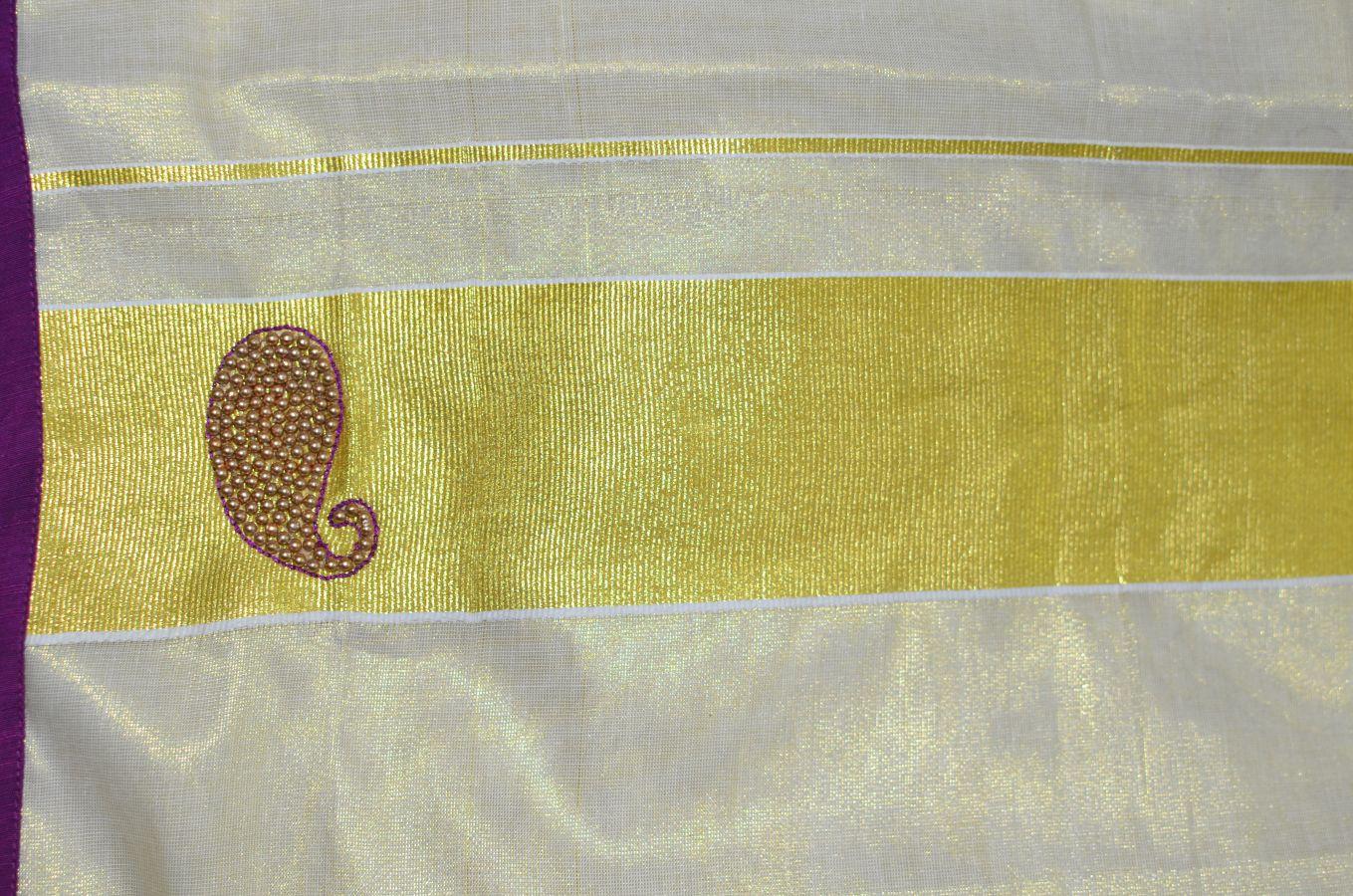 Magenta Colour Tissue Davani/half Saree With Bead Work