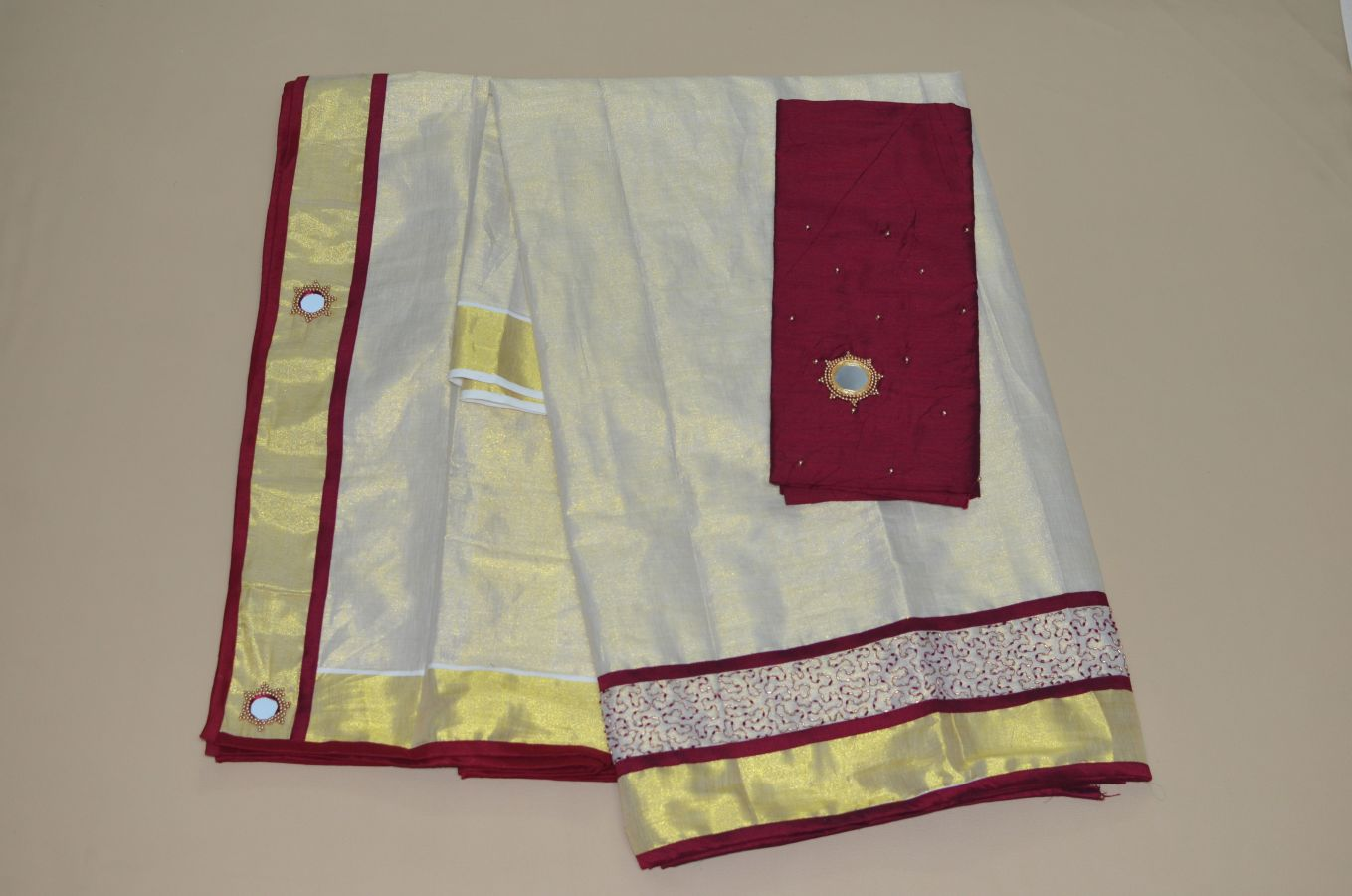 Maroon Colour Tissue Davani/half Saree With Bead And Mirror Work