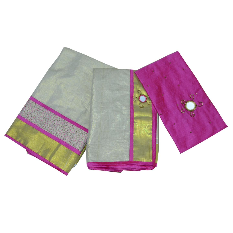 Pink Colour Tissue Davani/half Saree With Bead And Mirror Work