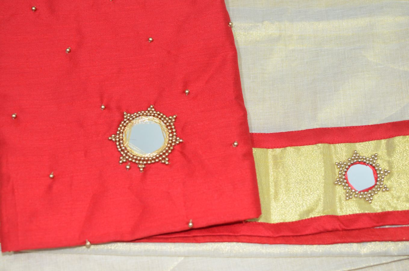 Red Color Tissue Davani/ Half Saree With Bead And Mirror Work