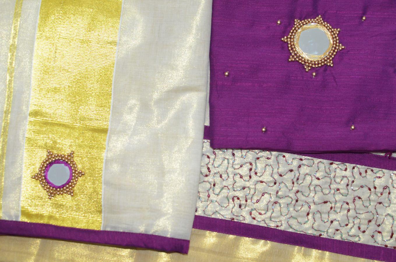 Magenta Color Tissue Davani/half Saree With Bead Work