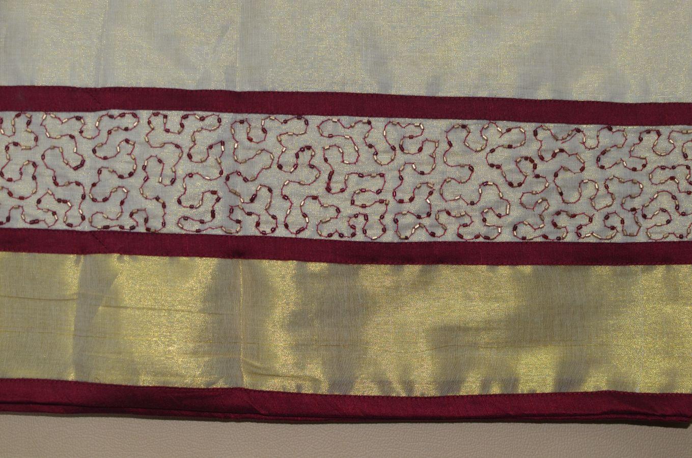 Maroon Color Tissue Davani/half Saree With Bead And Mirror Work