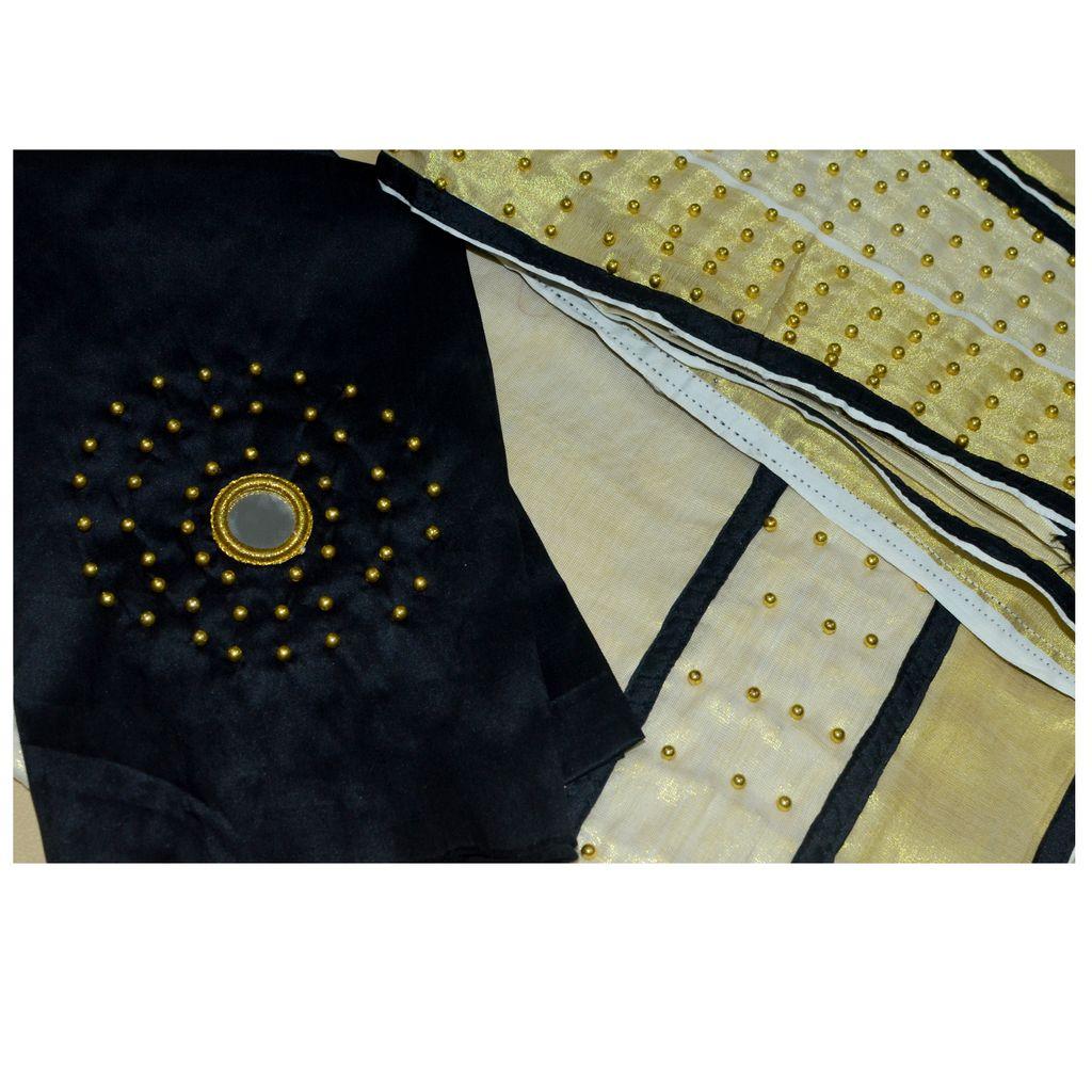 Dhavani/half Saree Black Colour With Bead Work