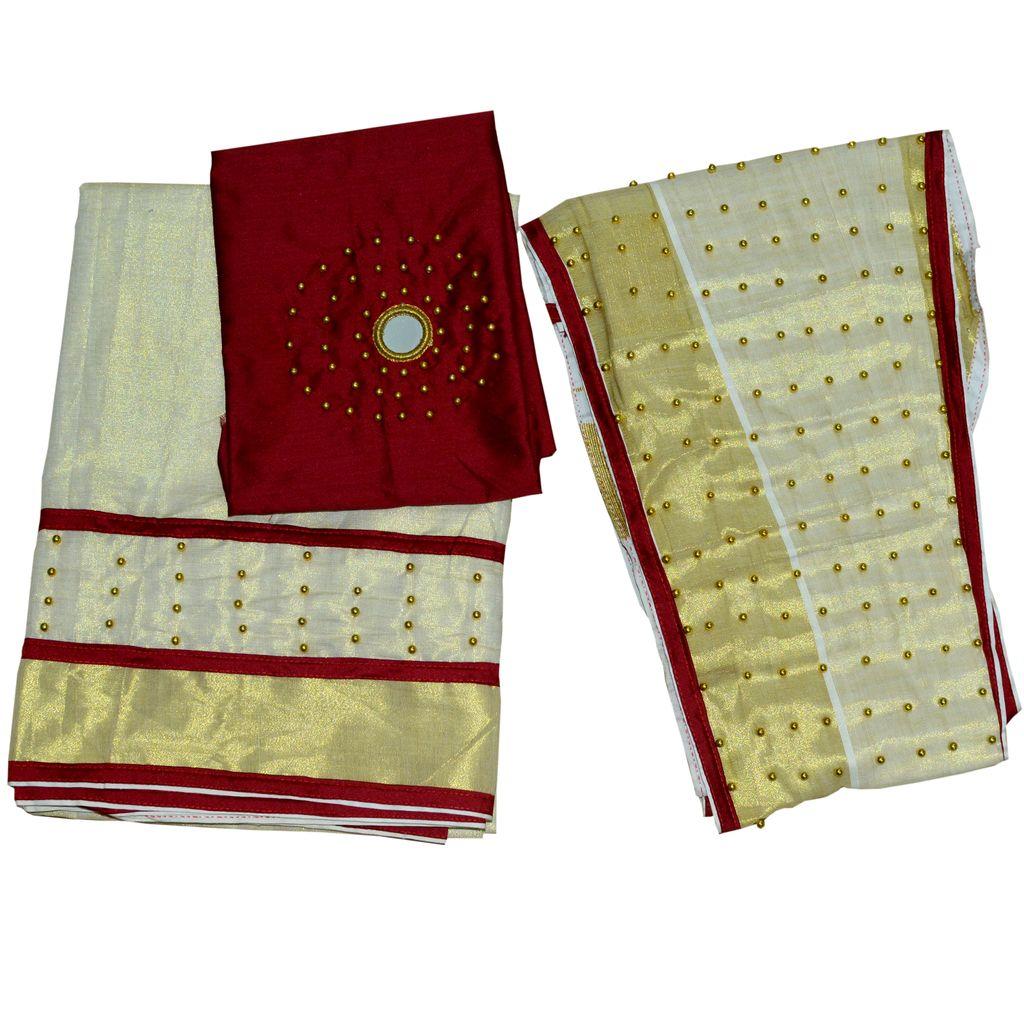 Dhavani/half Saree Maroon Colour With Bead Work