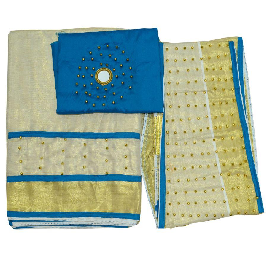 Dhavani/half Saree Blue Colour With Bead Work