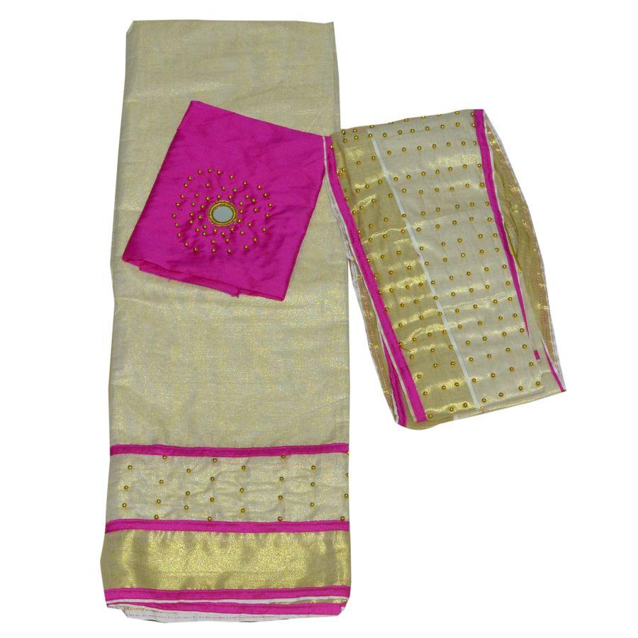 Dhavani/half Saree Pink Colour With Bead Work
