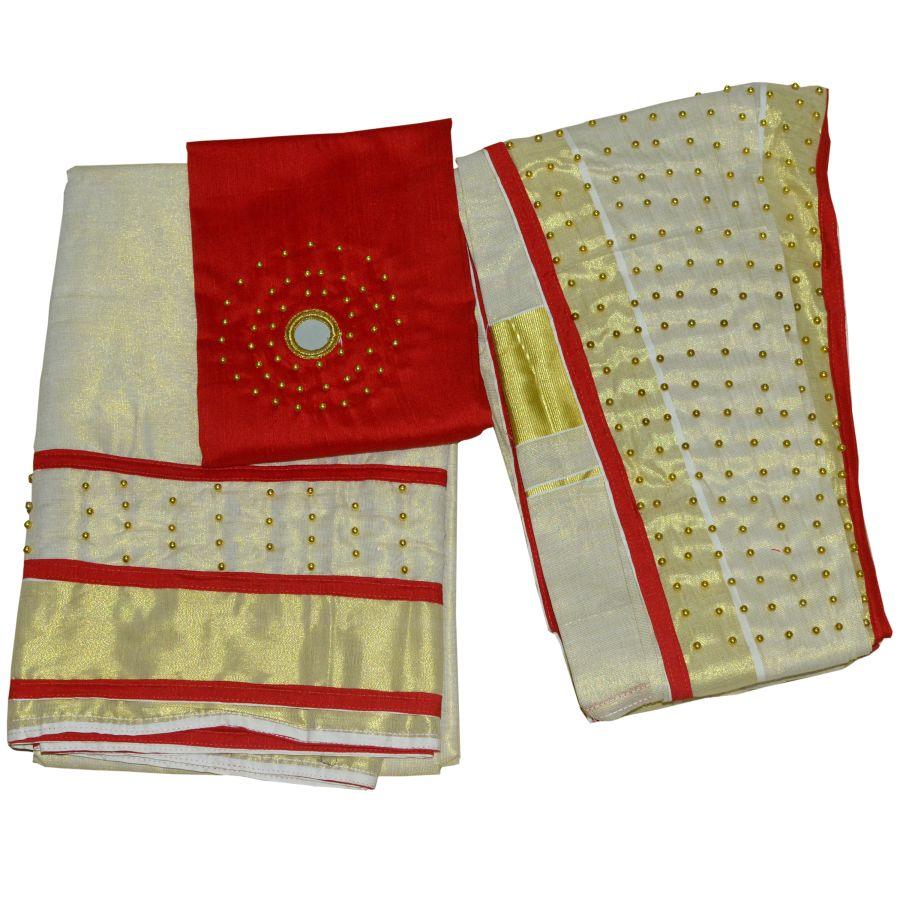 Dhavani/half Saree Red Colour With Bead Work
