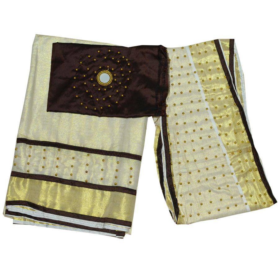 Dhavani/half Saree Coffee Brown Colour With Bead Work