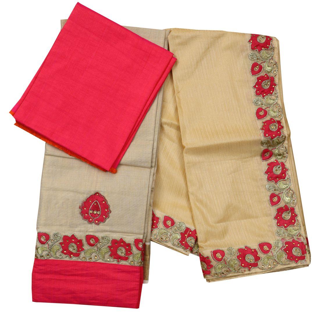 Kerala Kasavu Half Saree with Embroidery Work