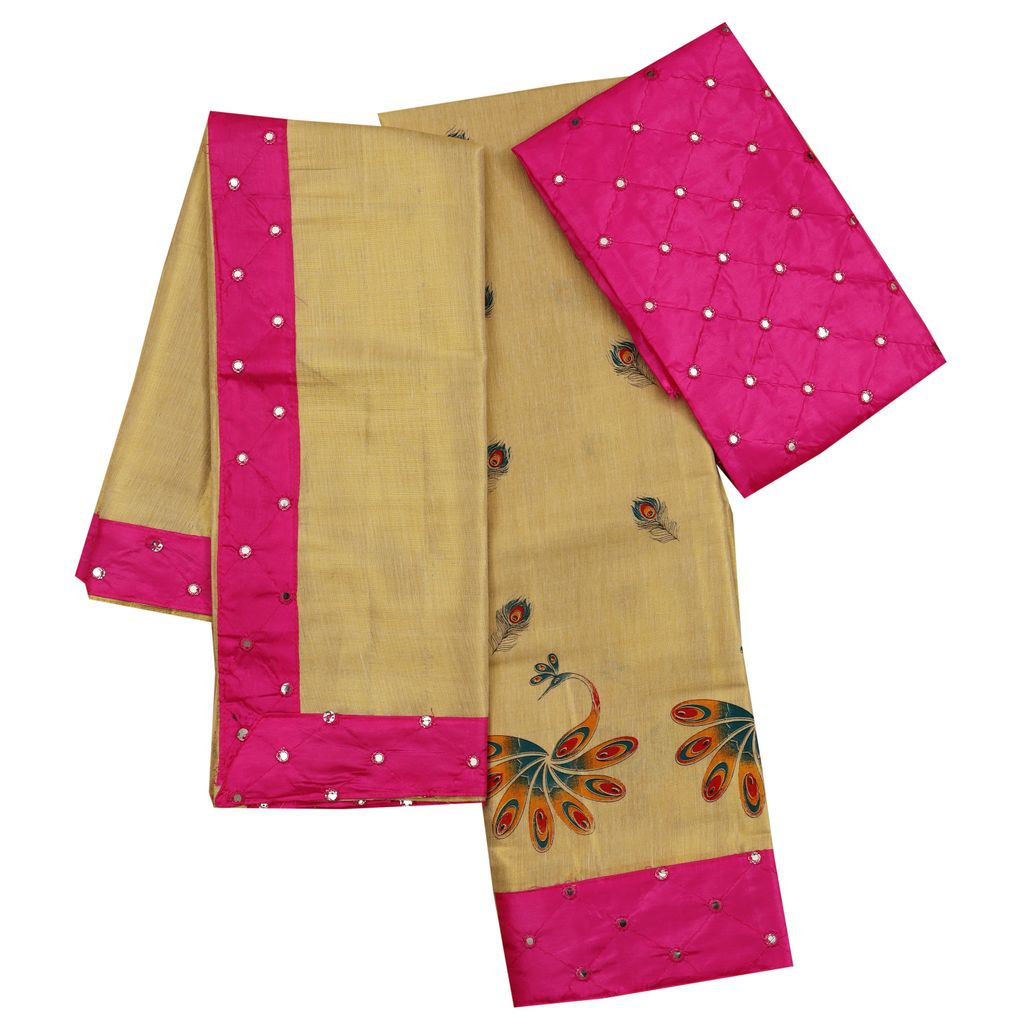 Girls Mural Print Dhavani With Pink color Border