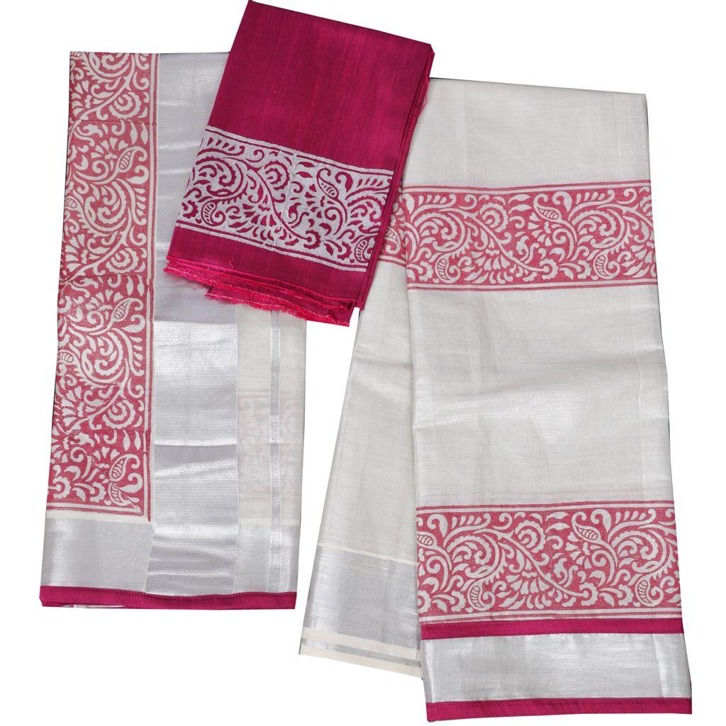 Kerala Kasavu Half Saree With Block Print