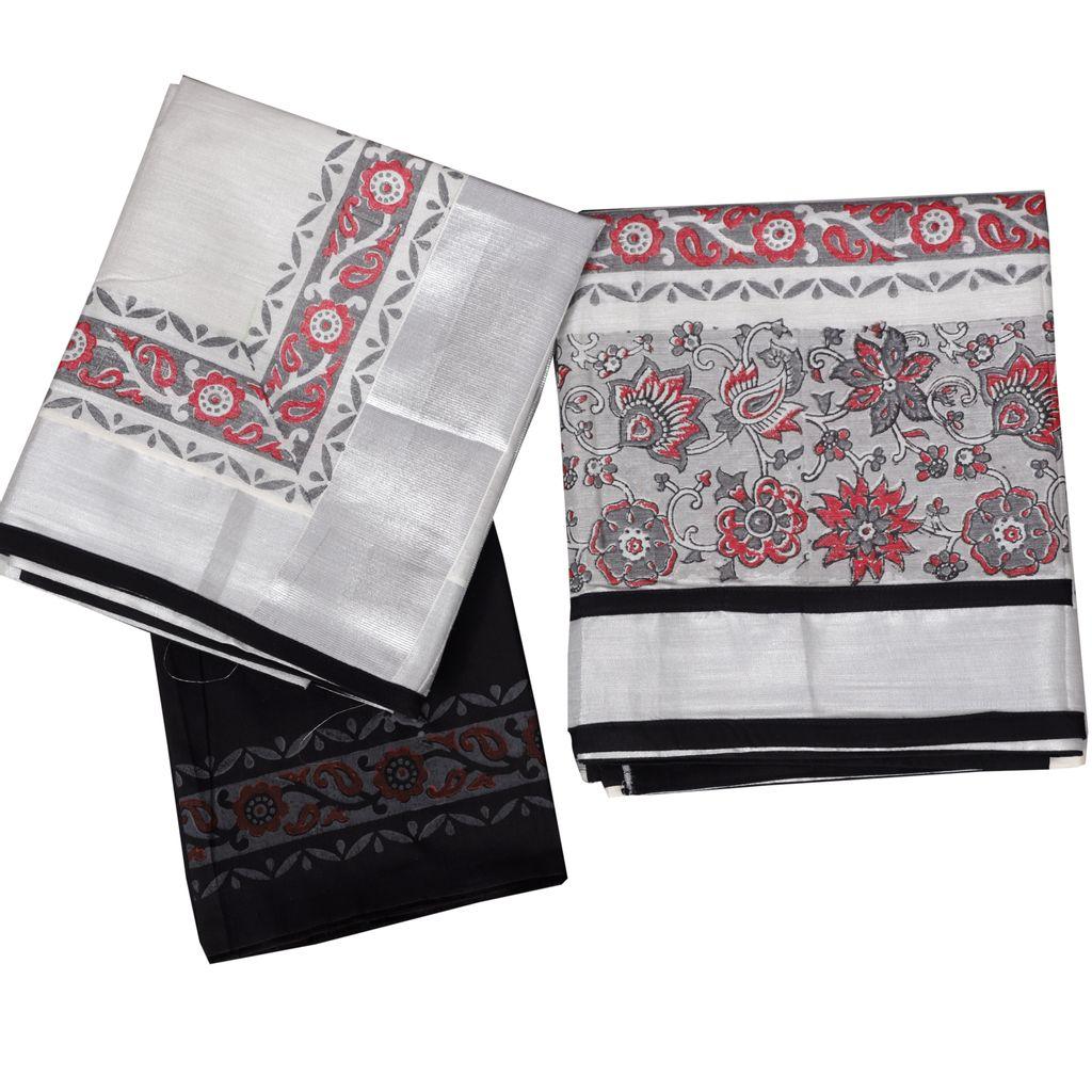Kerala Traditional Half Saree With Block Print