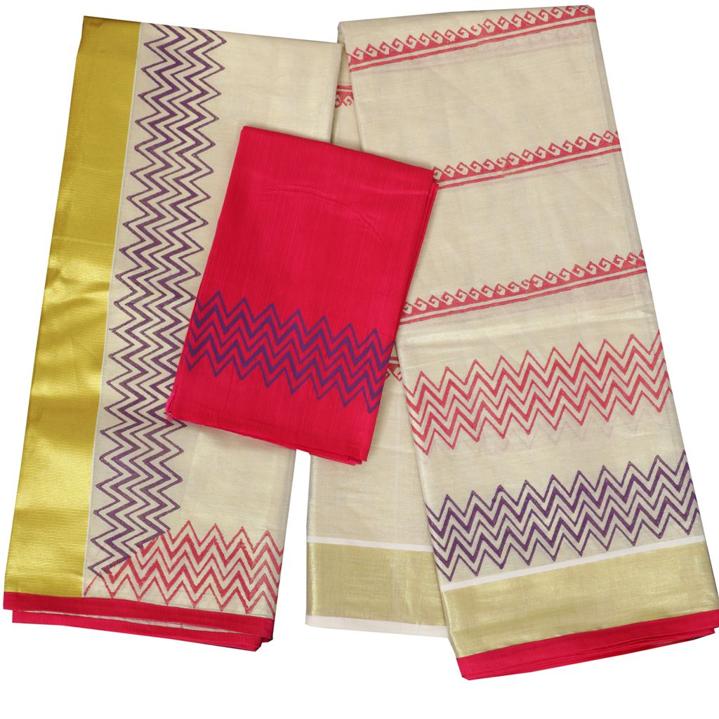 Kerala Half Saree With Block Print