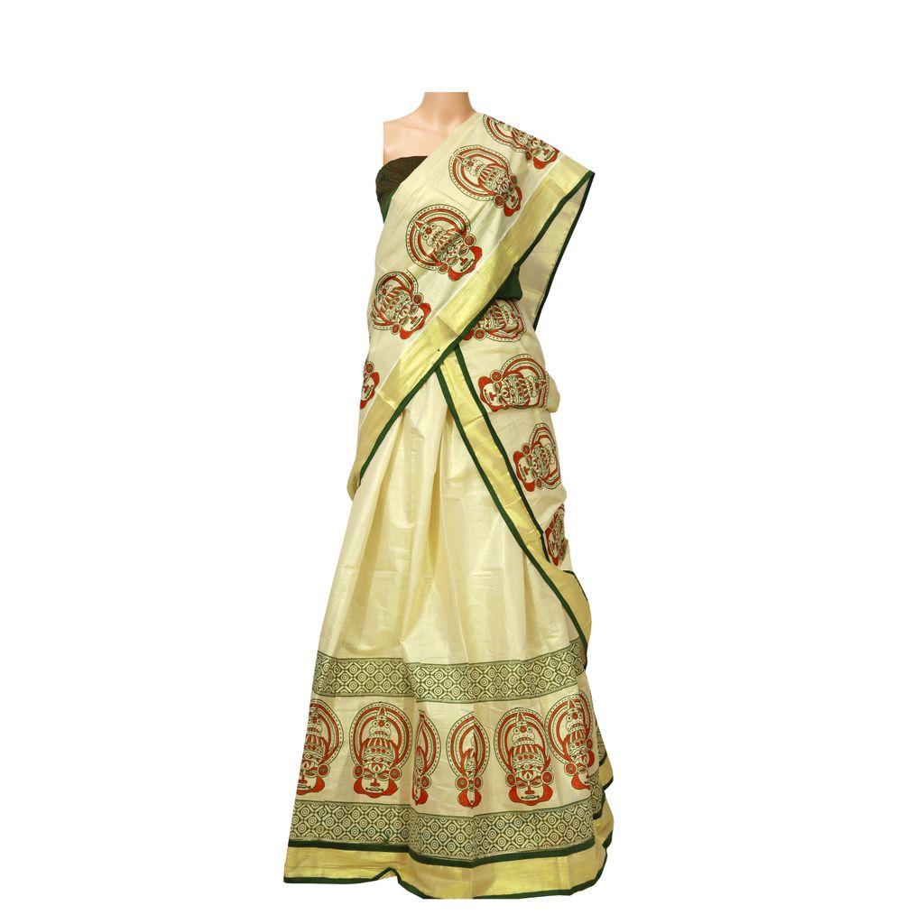 Traditional Kerala Kasavu Half Saree With Block Print