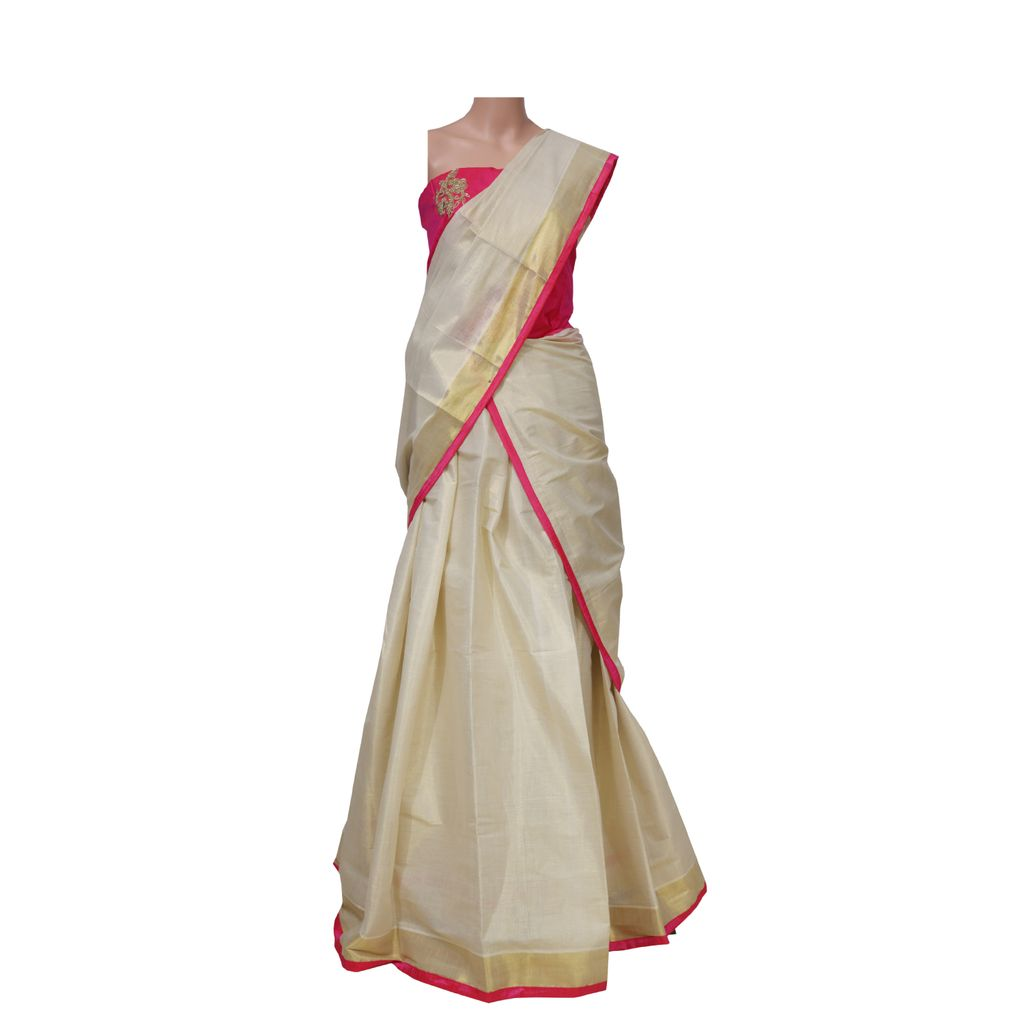 Traditional Half Saree Kerala Style With Bead Work Embroidery Blouse