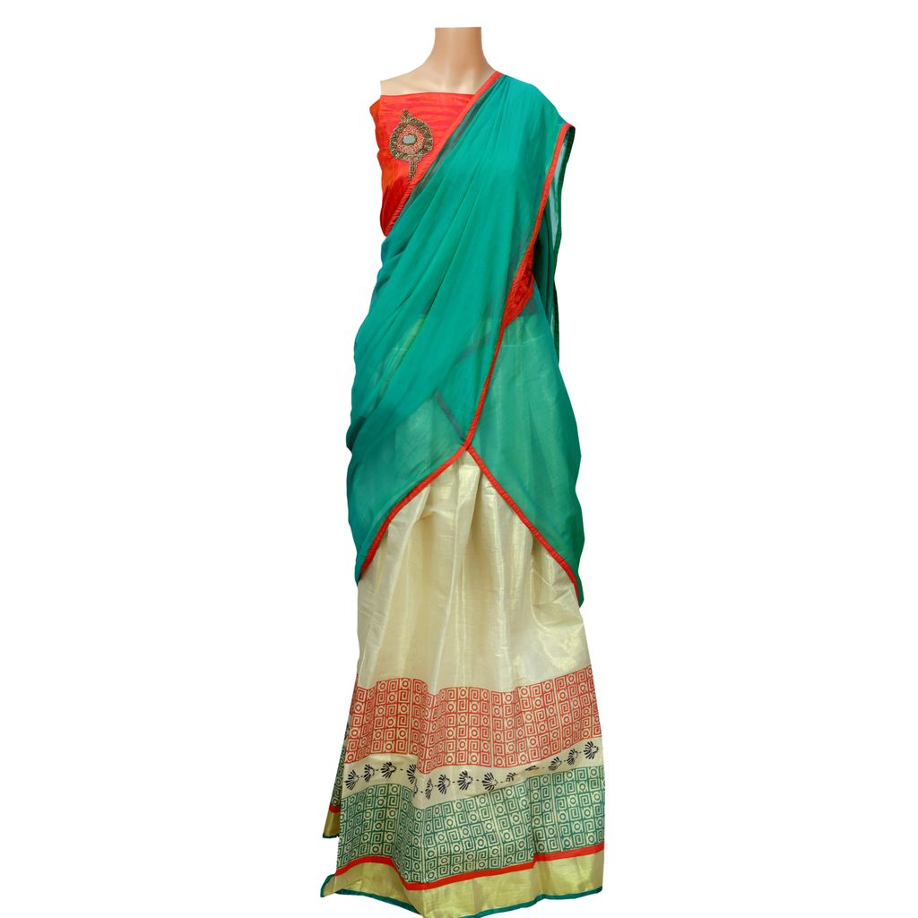 Block Printed Kerala Style Traditional Half Saree  With Bead Work Embroidery Blouse