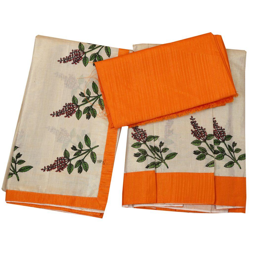 Golden Tissue Dhavani Material With Thulsikathir Print