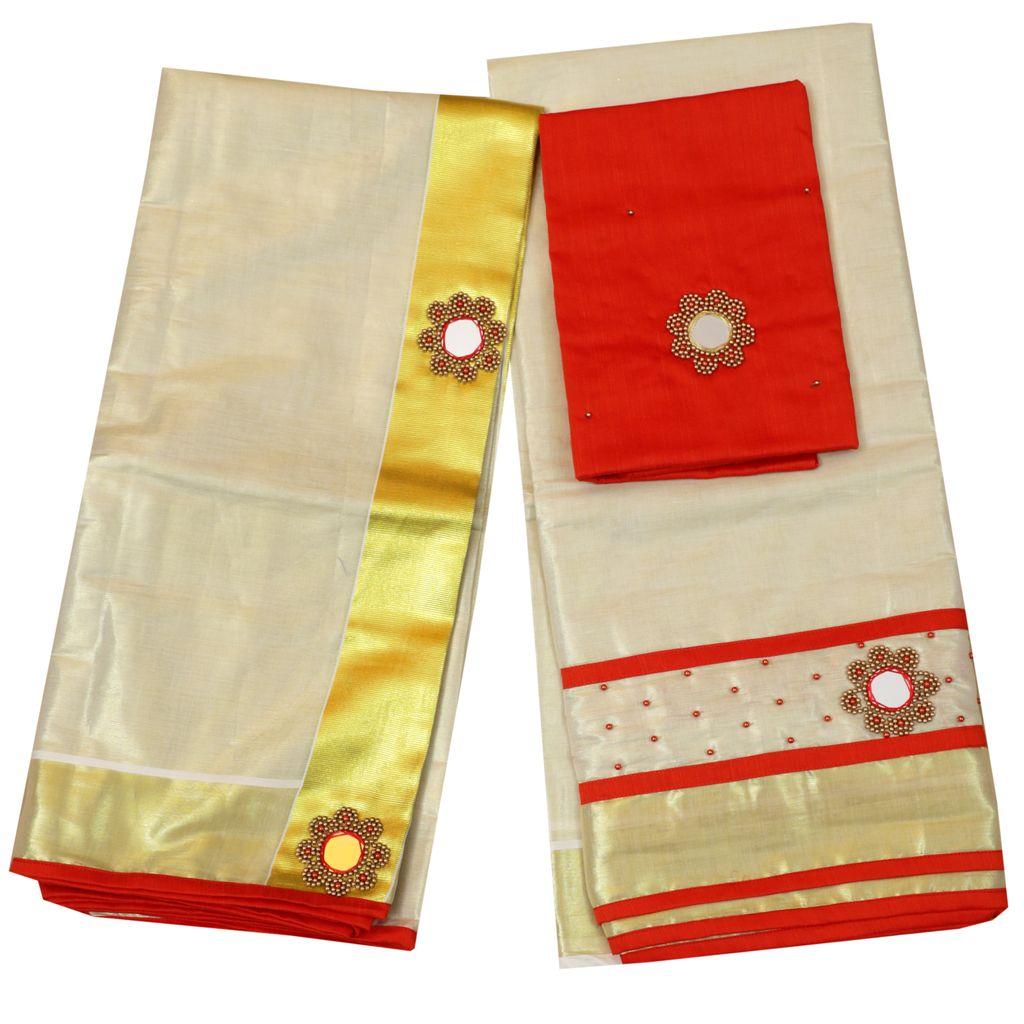 Dark Orange Color Tissue Davani/half Saree With Bead And Mirror Work
