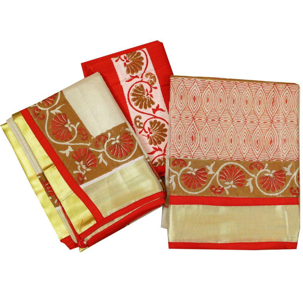 Block Printed Kerala Half Saree For Engagement
