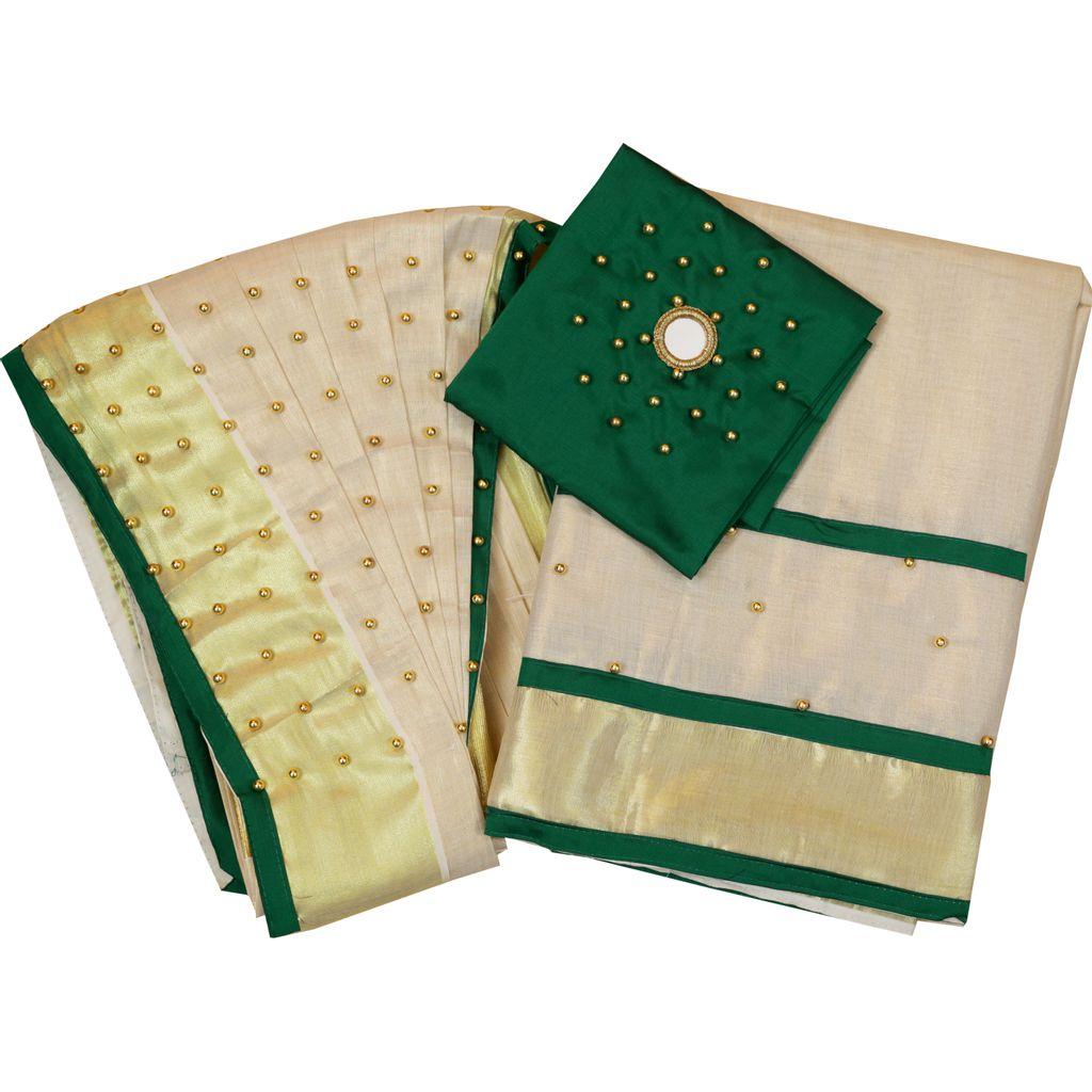 Dhavani/half Saree Green Colour With Bead Work