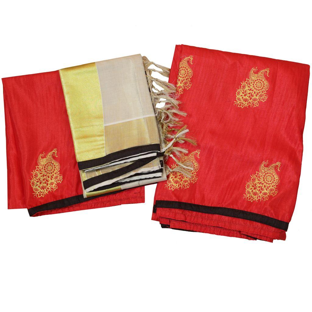Kerala Half Saree With Printed Color Skirt